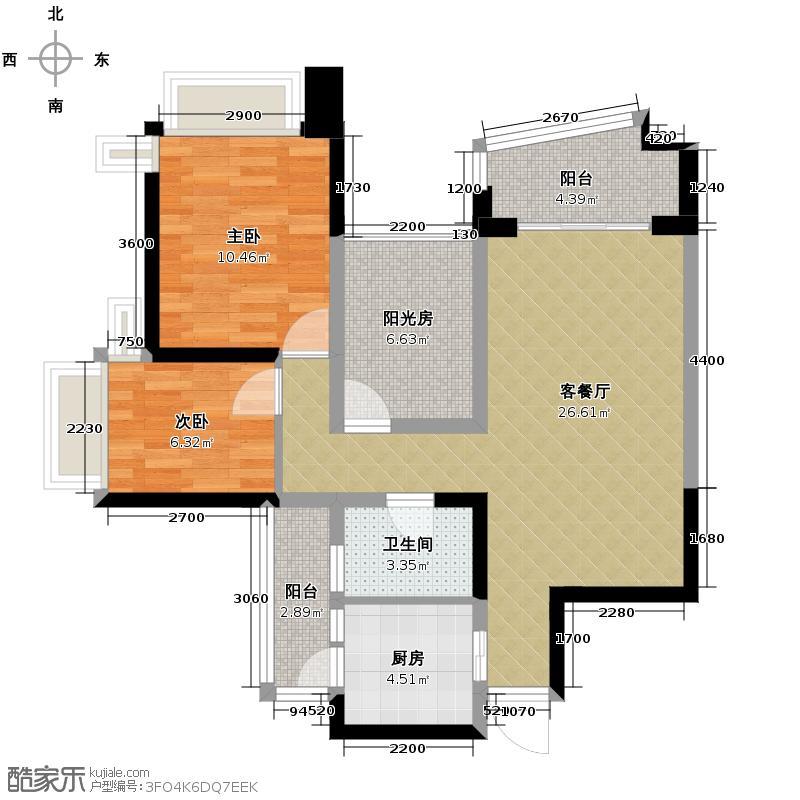 雅居乐御景名门90.00㎡6/10栋03/04单位户型2室1厅1卫1厨