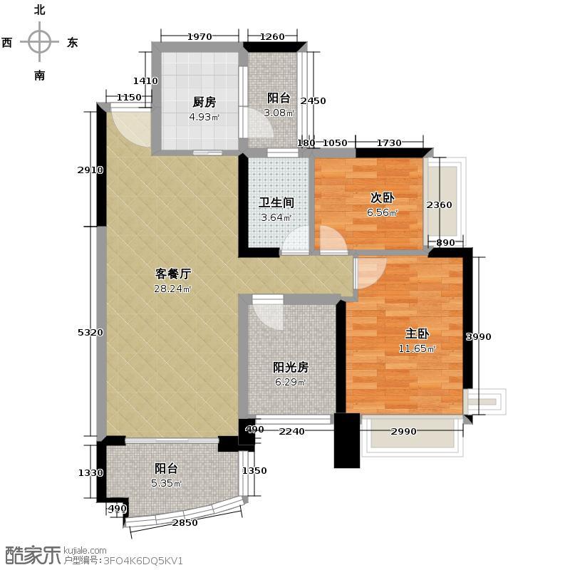雅居乐御景名门90.00㎡6/10栋01/02/05/06单位户型2室1厅1卫1厨