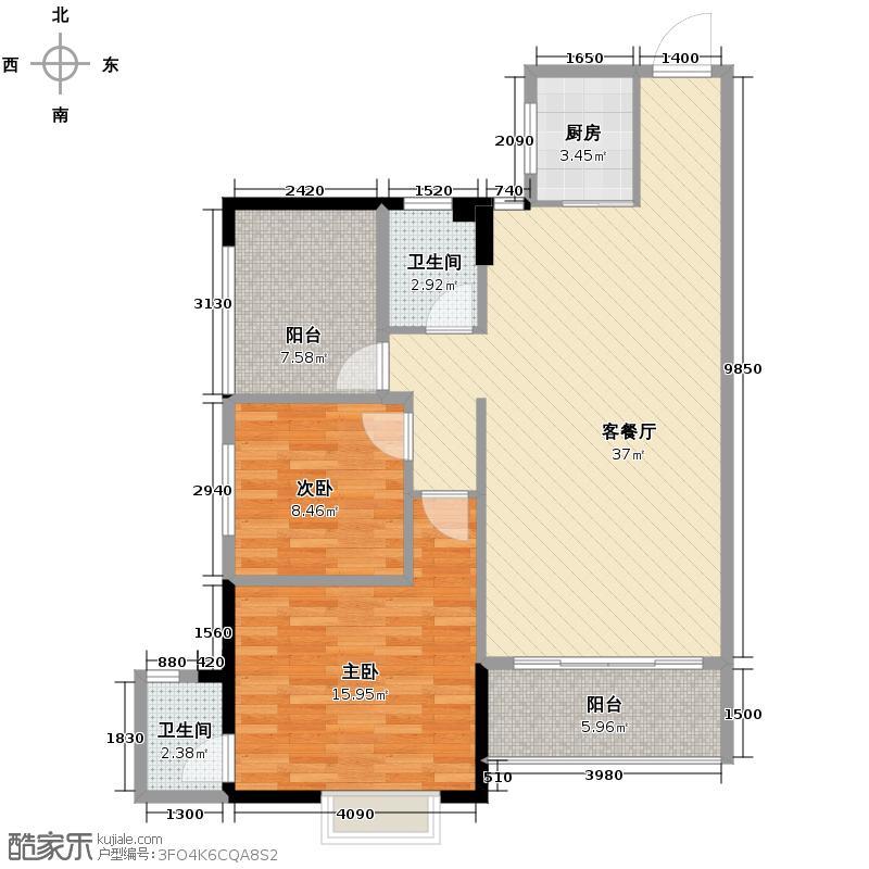 锦绣北苑91.00㎡2栋04单位户型3室2厅2卫