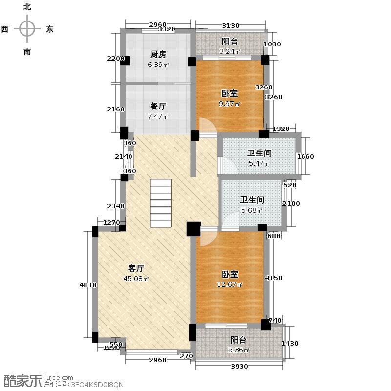 闽都星锦湾118.00㎡E户型2室2厅2卫