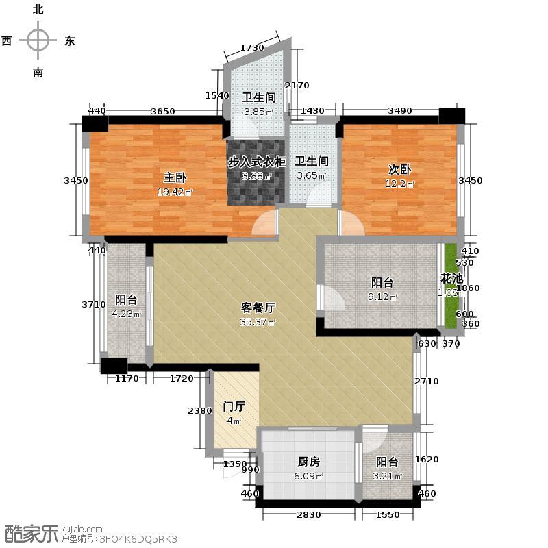 依云曦城124.00㎡4/6栋04单位5栋01单位户型3室2厅2卫