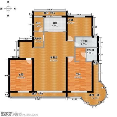 富达蓝山3室2厅2卫0厨133.31㎡户型图