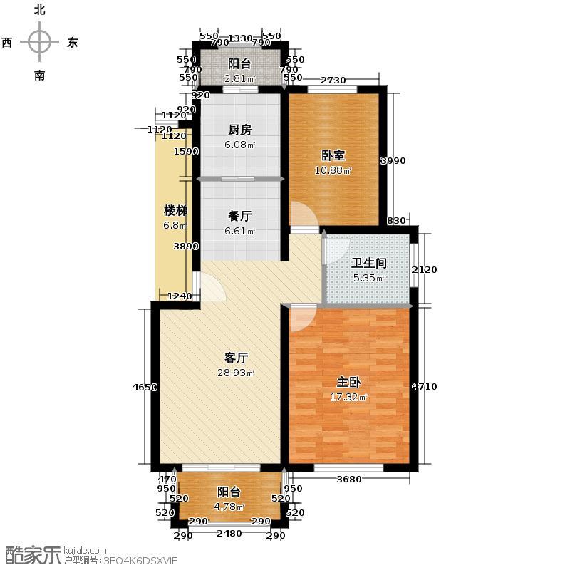 天泽苑86.37㎡3期17#标准层A1户型10室