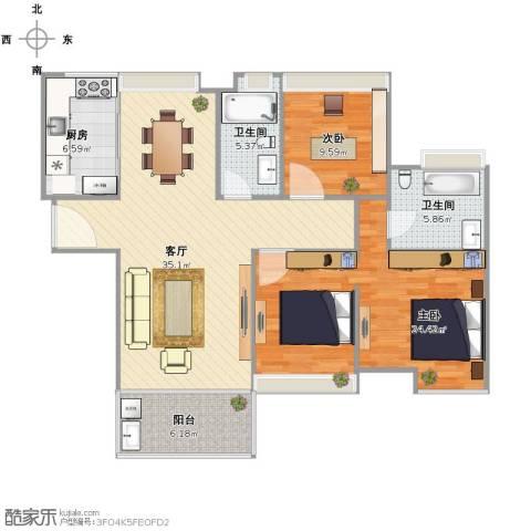 中海寰宇天下2室1厅2卫1厨100.28㎡户型图