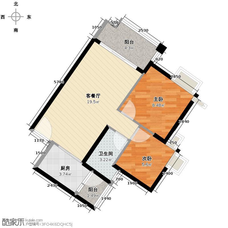 上林苑63.80㎡6栋1座05单位户型2室2厅1卫