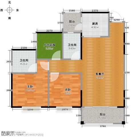 海逸锦绣誉峰3室2厅2卫0厨91.00㎡户型图