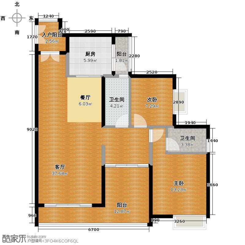 颐澳湾112.00㎡2座02单元户型2室2厅2卫