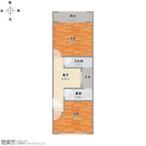 三门路358弄小区2室1厅1卫1厨61.00㎡户型图