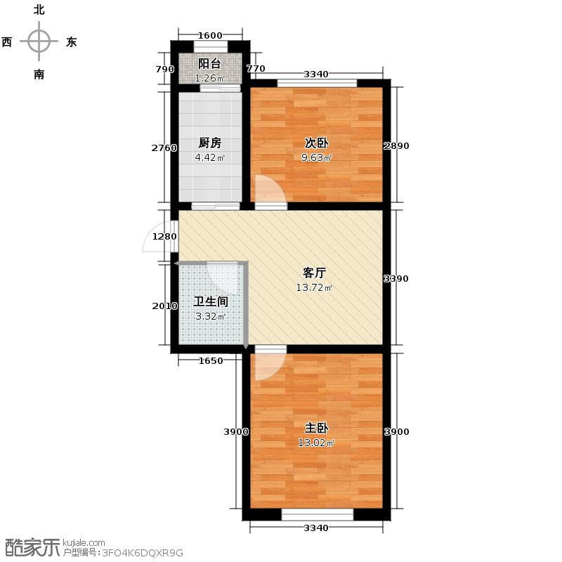 伟业星城65.50㎡三期中央街区31#、32#、34#、69#楼GL户型2室1厅1卫