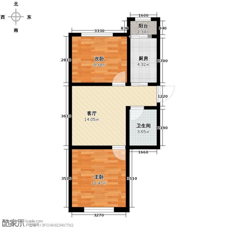 伟业星城70.27㎡三期中央街区77#、78#楼GJ户型2室1厅1卫