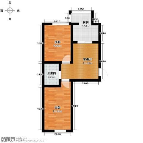 吉大菲尔瑞特2室1厅1卫1厨64.00㎡户型图