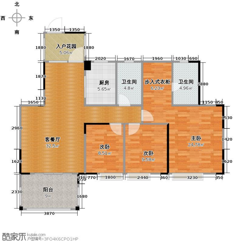 尚观嘉园119.00㎡5座03单位户型3室2厅2卫