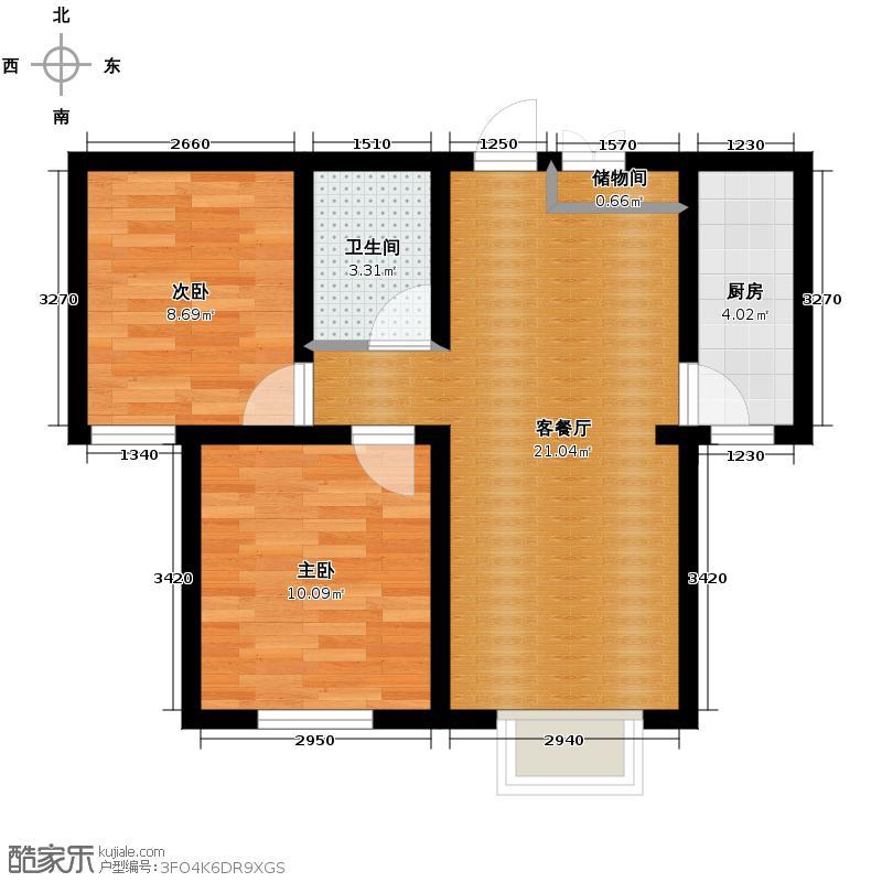 吉大菲尔瑞特55.91㎡户型2室1厅1卫1厨