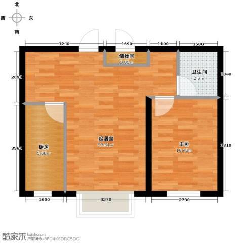 天旺名都1室2厅1卫0厨61.00㎡户型图