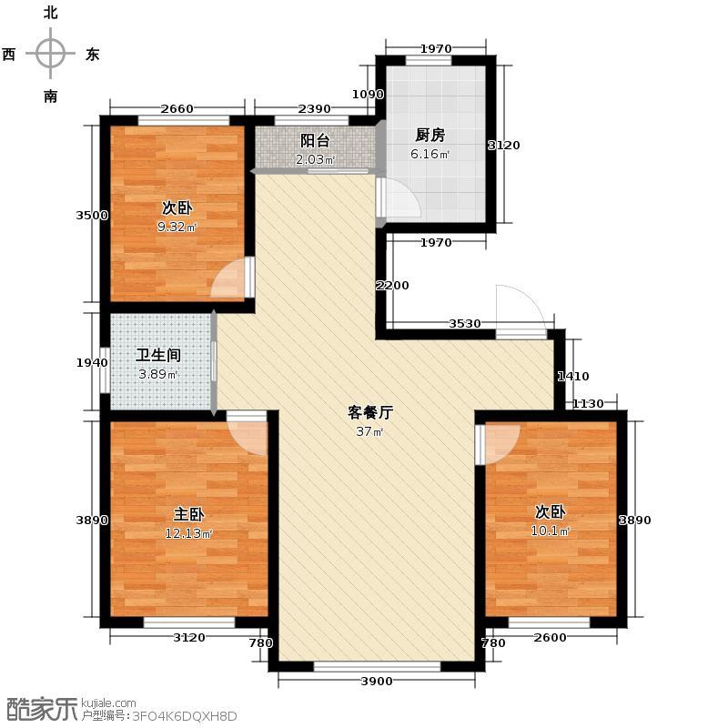 伟业星城106.23㎡三期中央街区31#、32#、34#、72#楼GA户型3室2厅1卫