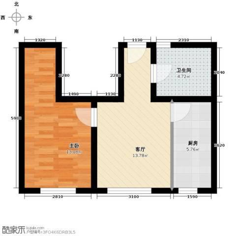 吉大菲尔瑞特1室1厅1卫1厨55.00㎡户型图