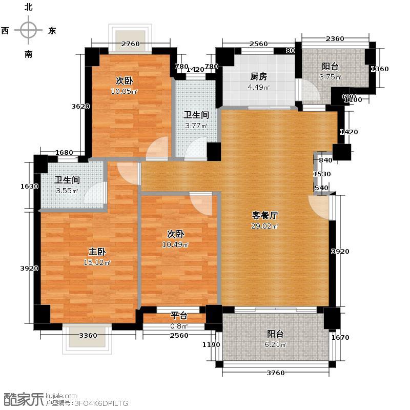 狮山阳光嘉园112.37㎡城宇名轩3座2-8层02单元户型3室2厅2卫