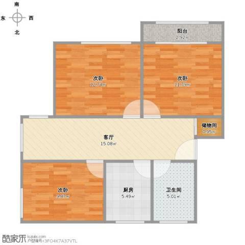 香山新村西北街坊3室1厅1卫1厨87.00㎡户型图