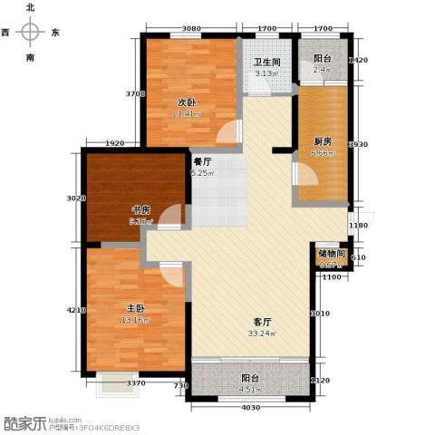 恒盛豪庭3室2厅1卫0厨126.00㎡户型图