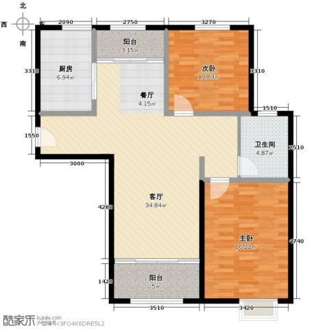 恒盛豪庭2室2厅1卫0厨111.00㎡户型图