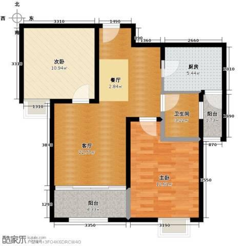 恒盛豪庭2室2厅1卫0厨92.00㎡户型图
