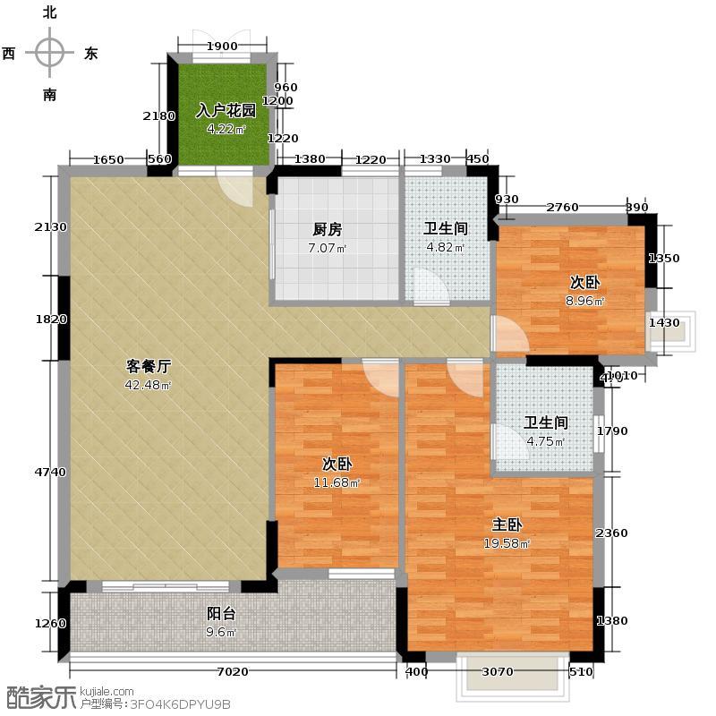 山林水语136.00㎡二期29栋04单位户型3室2厅2卫