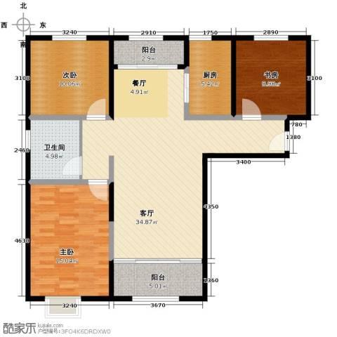 恒盛豪庭3室2厅1卫0厨128.00㎡户型图