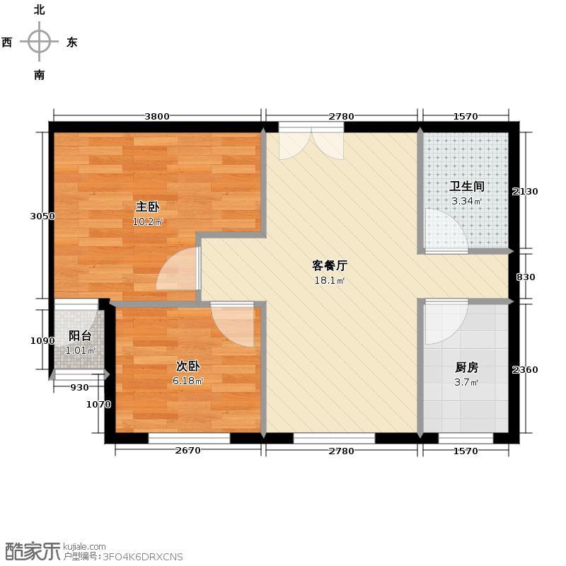 澳洲城60.00㎡A户型2室1厅1卫