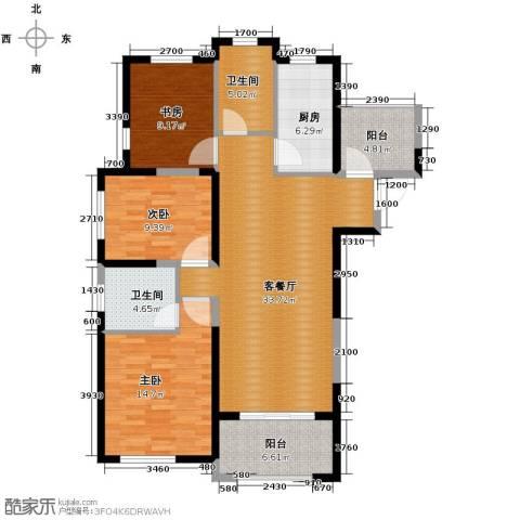 保利拉菲公馆3室2厅2卫0厨106.89㎡户型图