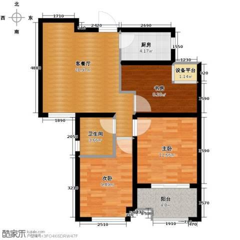 保利拉菲公馆3室2厅1卫0厨74.49㎡户型图