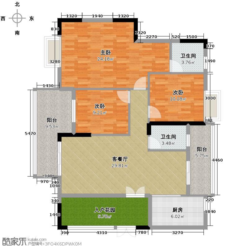 山林水语131.00㎡25栋03单元户型3室2厅2卫