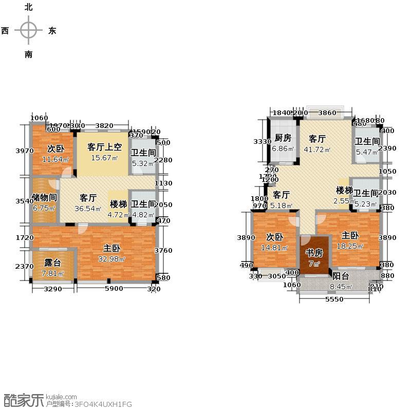 绿野春天翠谷幽兰241.61㎡D1中间套跃层户型5室2厅4卫1厨