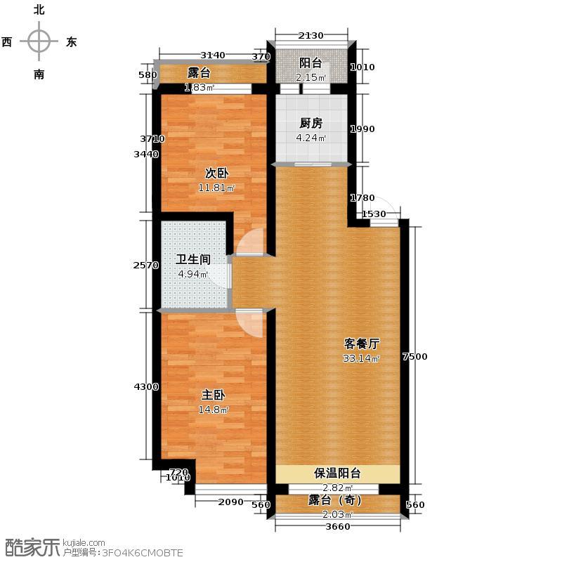 富达蓝山63.17㎡户型2室1厅1卫