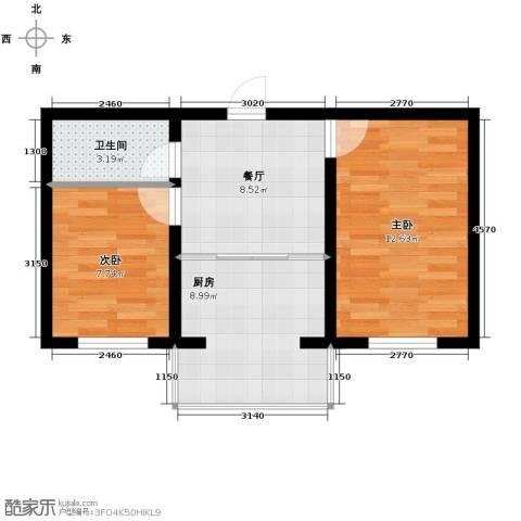 迅驰净月大学城2室1厅1卫1厨47.44㎡户型图