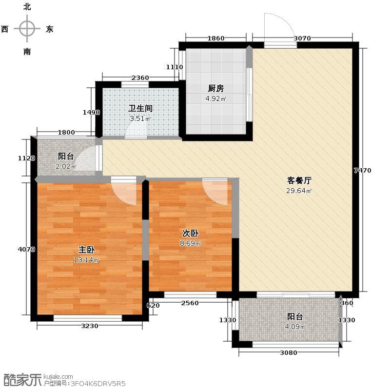 淮矿东方蓝海92.00㎡B户型2室2厅1卫