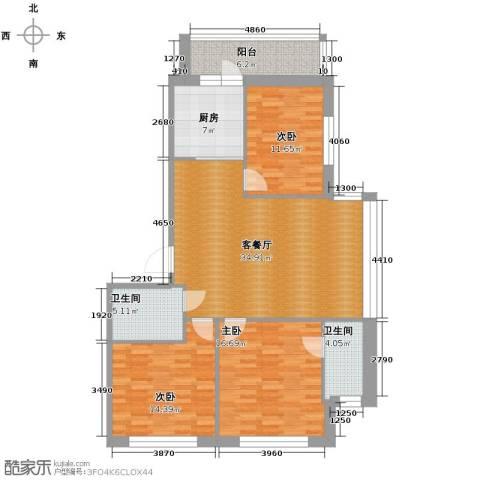 中北春城3室1厅2卫1厨142.00㎡户型图