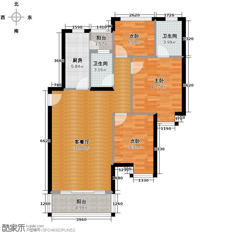 银汇华庭90.92㎡13座2-10层02单位户型3室2厅2卫