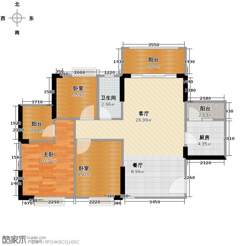 上林一品91.00㎡2栋3座2-18层02单位户型3室2厅1卫