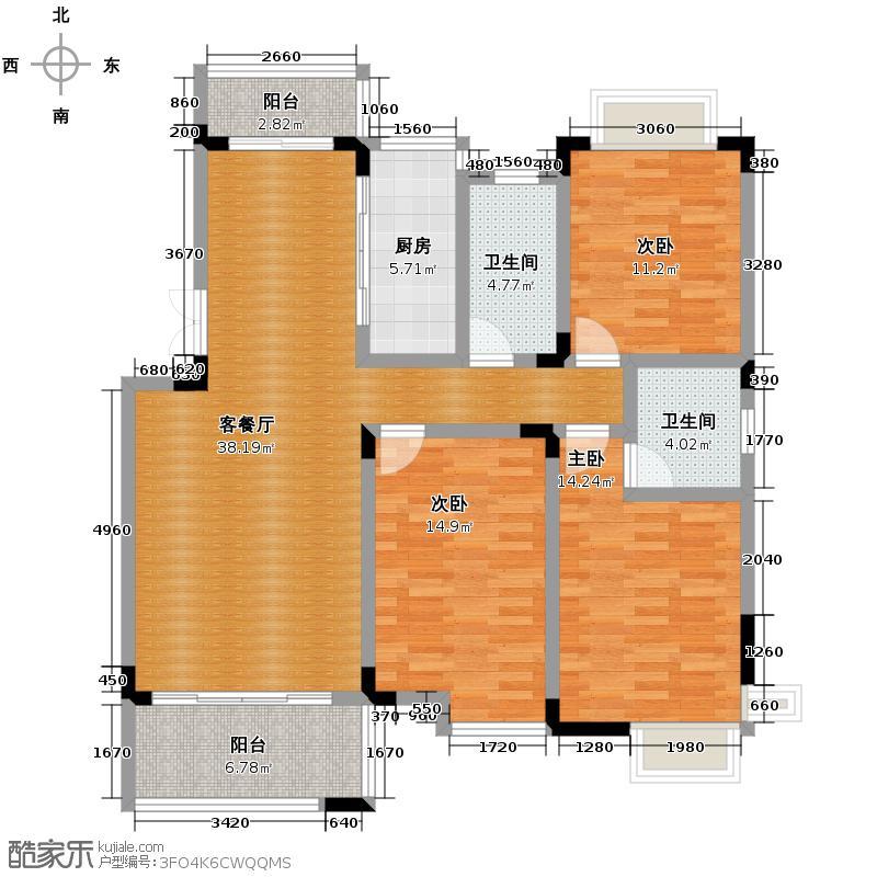 颐园世家118.76㎡户型3室1厅2卫1厨