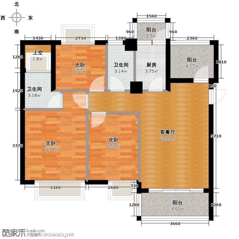 西堤国际花园91.65㎡07/08/14/15座4-9层01/02单元户型3室1厅2卫1厨