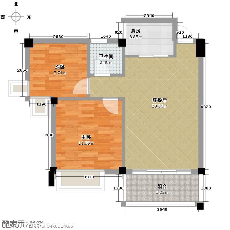 西堤国际花园66.84㎡18/19/20座3-6层02/03单元户型2室1厅1卫1厨