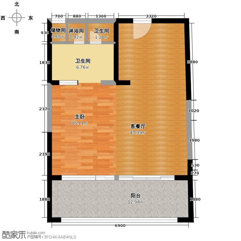 汇锦城94.08㎡雅居乐海南清水湾翰海银滩洋房SA3栋-C户型1厅1卫