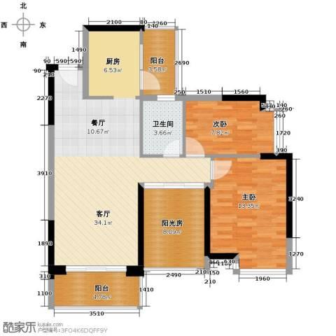 雅居乐都荟天地2室1厅1卫0厨91.00㎡户型图