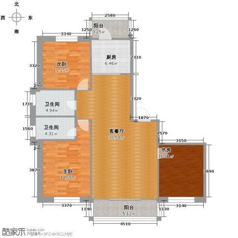 中北春城3室1厅2卫1厨99.00㎡户型图