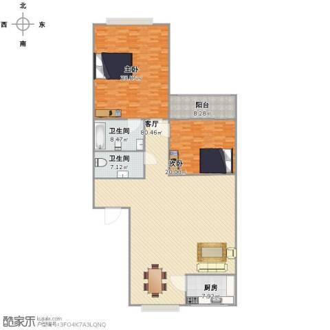 泉印兰亭2室1厅2卫1厨225.00㎡户型图