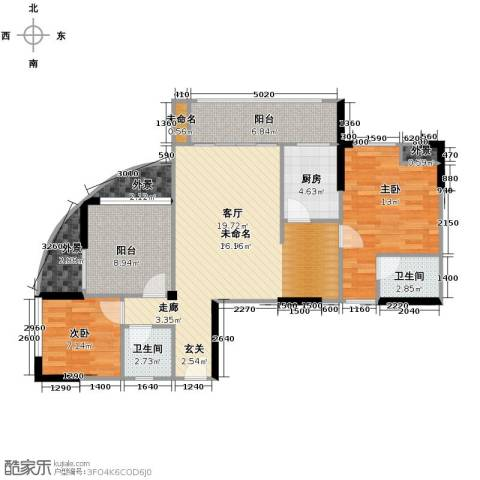 东怡水岸花园3室2厅2卫0厨87.00㎡户型图
