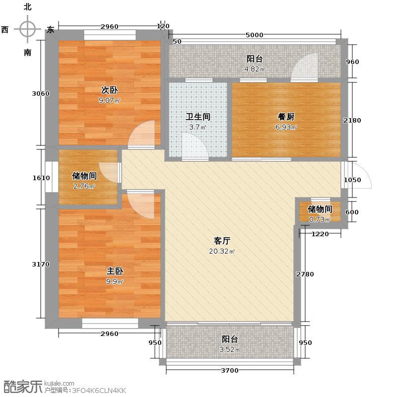 中北春城三期72.54㎡两居户型2室1厅1卫
