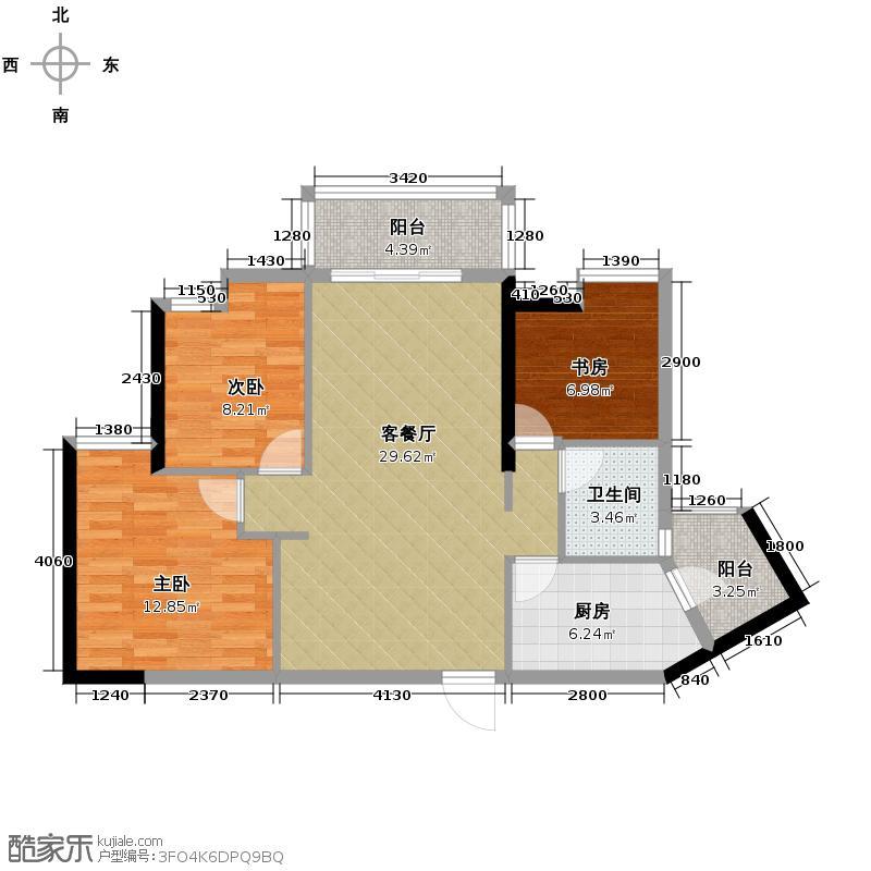 滨城珑湾94.00㎡3座05单位户型3室2厅1卫