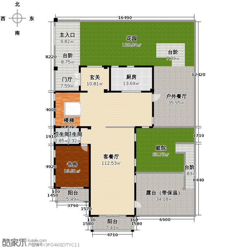 阳明山庄388.18㎡B1-N-01二层户型10室