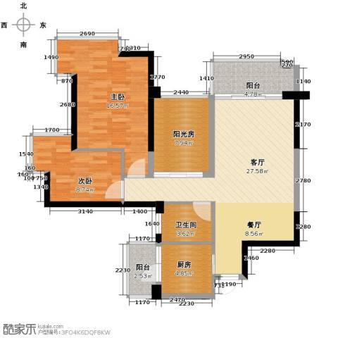 雅居乐都荟天地2室1厅1卫1厨91.00㎡户型图